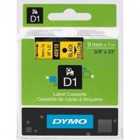 Dymo 40918, D1 Tape,9mm x 7m, Black on Yellow