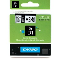 Dymo 43613, D1 Tape, 6mm x 7m, Black on White