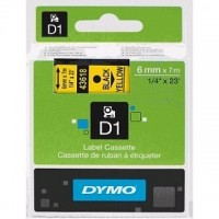 Dymo 43618, D1 Tape, 6mm x 7m, Black on Yellow
