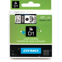 Dymo 45010, D1 Tape,12mm x 7m, Black on Transparent