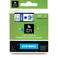 Dymo 45011, D1 Tape,12mm x 7m, Blue on Transparent