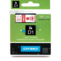 Dymo 45012, D1 Tape,12mm x 7m, Red on Transparent