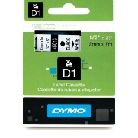 Dymo 45013, D1 Tape,12mm x 7m, Black on white