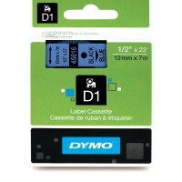 Dymo 45016, D1 Tape,12mm x 7m, Black on Blue