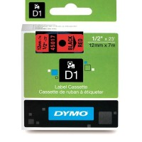 Dymo 45017, D1 Tape,12mm x 7m, Black on Red