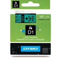Dymo 45019, D1 Tape,12mm x 7m, Black on Green