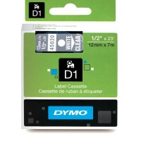 Dymo 45020, D1 Tape,12mm x 7m, White on Transparent