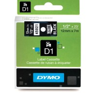 Dymo 45021, D1 Tape,12mm x 7m, White on Black