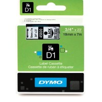 Dymo 45800, D1 Tape,19mm x 7m, Black on Transparent