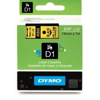 Dymo 45808, D1 Tape,19mm x 7m, Black on Yellow