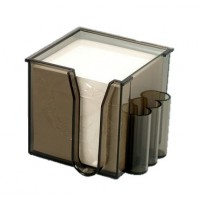 Elsoon Plastic Memo Holder, w/Pen Pockets, Smokey Brown