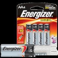 Energizer [E91BP4] Alkaline Batteries, AA, 4/Pack