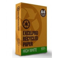 Excel Pro 100% Recycled Paper, 80gsm, High White, A4, 5X500 sh/Box