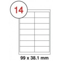99 X 38.1mm White A4 Labels, 14 Per Sheet - Pack of 100 Sheets [1400 Labels]