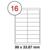 99 X 33.9mm White A4 Labels, 16 Per Sheet - Pack of 100 Sheets [1600 Labels]