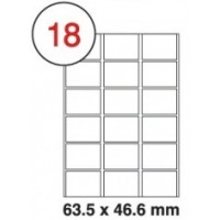 63.5 X 46.6mm White A4 Labels, 18 Per Sheet - Pack of 100 Sheets [1800 Labels]