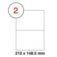 210 X 148.5mm White A4 Labels, 2 Per Sheet - Pack of 100 Sheets [200 Labels]