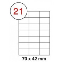 70 X 42mm White A4 Labels, 21 Per Sheet - Pack of 100 Sheets [2100 Labels]