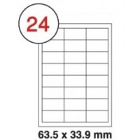 63.5 X 33.9mm White A4 Labels, 24 Per Sheet - Pack of 100 Sheets [2400 Labels]