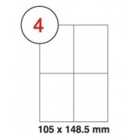 105 x 148.5mm White A4 Labels, 4 Per Sheet - Pack of 100 Sheets [400 Labels]