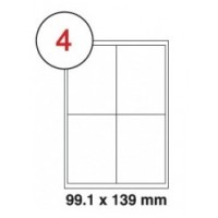 99.1 x 139mm White A4 Labels, 4 Per Sheet - Pack of 100 Sheets [400 Labels]