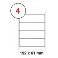 192 x 61mm White A4 Labels, 4 Per Sheet - Pack of 100 Sheets [400 Labels]