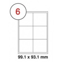 99.1 x 93.1mm White A4 Labels, 6 Per Sheet - Pack of 100 Sheets [600 Labels]
