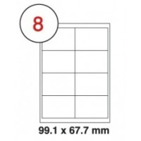 99.1 x 67.7mm White A4 Labels, 8 Per Sheet - Pack of 100 Sheets [800 Labels]