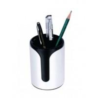 FIS Plastic Pen Holder, Round, Black/White, Ref: FSPH2001E