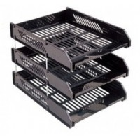 FIS 3-Layer Plastic Document Tray Black