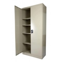 Full Height Steel Cupboard Swing Door 4-Shelves Beige