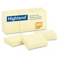 "3M Highland Yellow Self-Sticking Note 1.5"" x 2"" PK12"