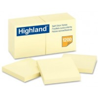 "3M Highland Yellow Self-Sticking Note 3"" x 3"" PK12"
