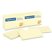 "3M Highland Yellow Self-Sticking Note 3"" x 5"" PK12"