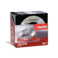Imation Mini CD-RW, 21Min/185MB, w/ Jewel Case, 10/Pack