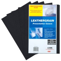 GBC LeatherGrain Binding Cover, 250gsm, A4, Black, [Pack of 100]