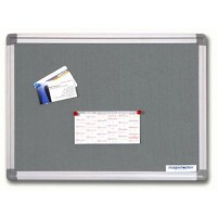 Magnetoplan Felt Notice Board, 120cm X 90cm, Grey