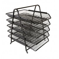 Metal Mesh Letter Tray, 5 Tier, Black