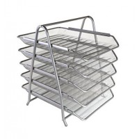 Metal Mesh Letter Tray, 5 Tier, Silver