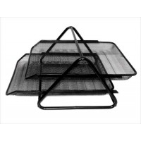 Metal Mesh Letter Tray, 2 Tier, Black