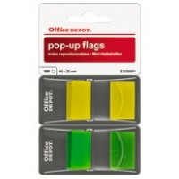 Office Depot Pop Up Index Flags 45 x 25mm Yellow & Green [2 x 50 flags]