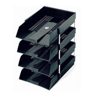 Omega 1718 Letter Tray, 4 Tier, Plastic, Grey