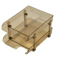 Plastic Stacking 2- Tier Document Tray Smokey
