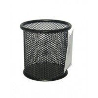 Metal Mesh Pen Holder, Round, Black