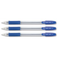 Pilot BPS-GP Ballpoint Pen Rubberised Grip, Fine 0.7mm, Blue, 12/Pack