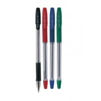 Pilot BPS-GP Ballpoint Pen Rubberised Grip, Fine 0.7mm, Green, 12/Pack