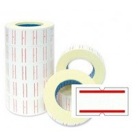 White Price Labels With 2 Red Lines 21x12mm [Pack of 50 Rolls]