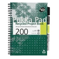 Pukka Recycled Project Book, 80gsm, Wirebound, A4, Assorted 200 pages
