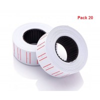 Alpha Price Labels 22x12mm for Single Line Labeller [Pack of 20 Rolls]