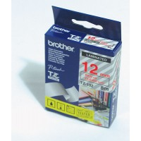 "Brother TZ-132 P-touch® Label Tape, 12mm, (1/2""), Red on Clear"